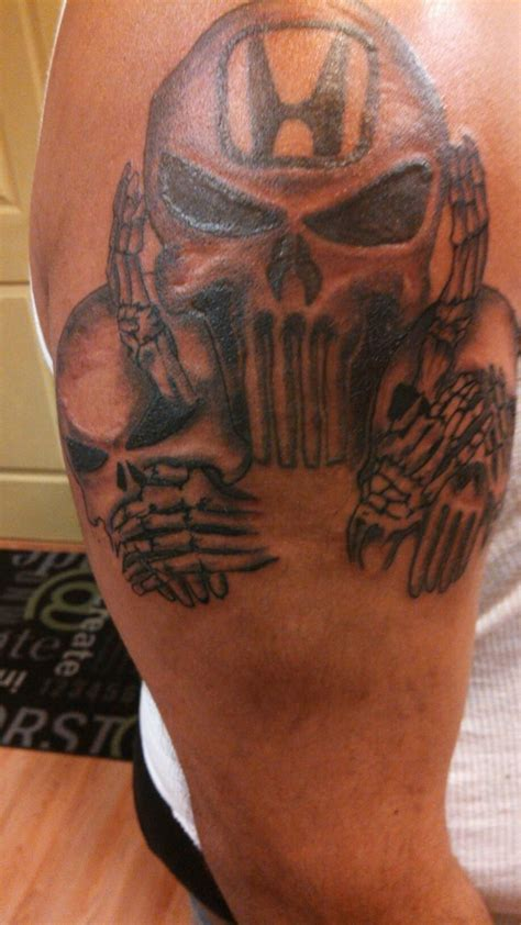 honda tattoos chris completed last week the large punisher