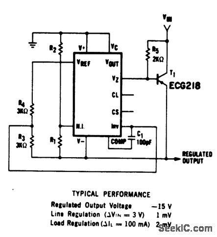 Ic Power L7915cv Ic Regulator negative voltage regulator using an ecg923 or ecg923d precision regulator ic power supply