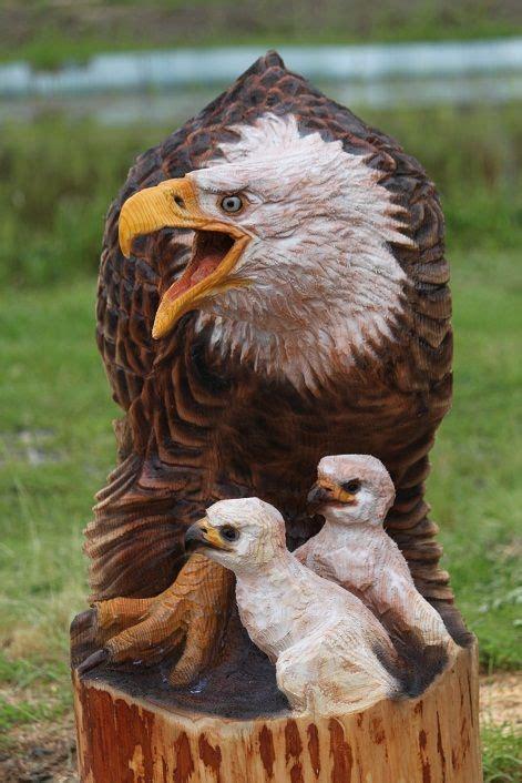 eagle mother  babies wood art art holz handwerk