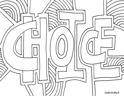 Word Coloring Pages Doodle Art Alley Coloring Pages Words