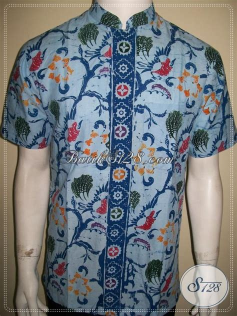 Kemeja Batik Pria Kerah Sanghai kemeja batik kerah shanghai batik koko lengan pendek modern warna biru baju batik modern 2018