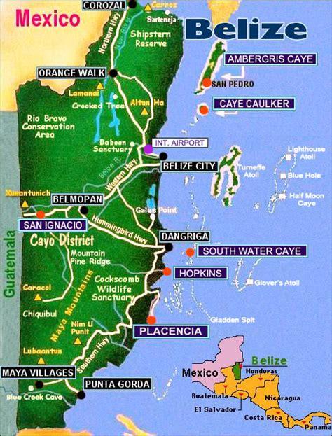 tourist map of belize belize touristische karte