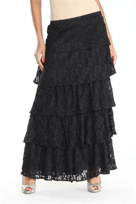 tiered maxi skirt in black fashion