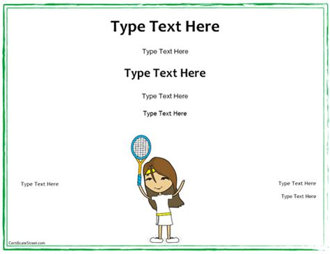 tennis certificate template free gift certificate template free tennis free voucher