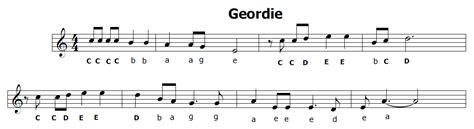 testo geordie musica e spartiti gratis per flauto dolce geordie