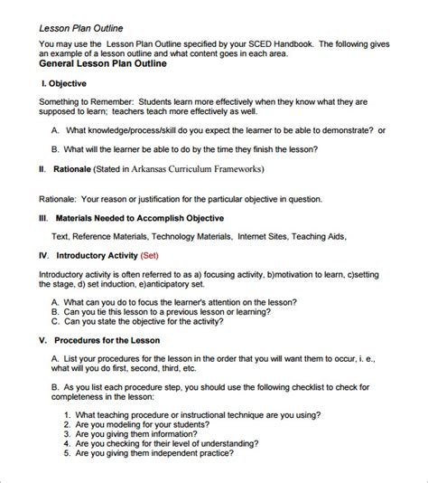 outline of a lesson plan template lesson plan outline template 8 free free word pdf