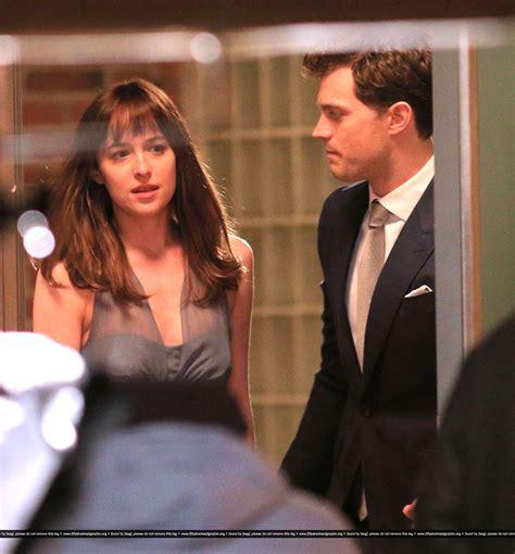 fifty shades of grey movie dakota johnson jamie dornan fifty shades of grey on set january 16 jamie dornan