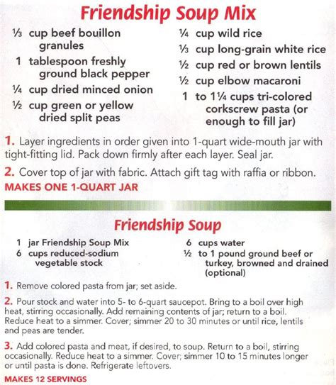 friendship soup mix cooking make your own mixes pinterest