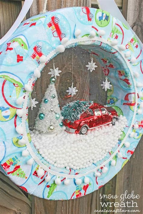 snow globe wreath tutorial   createcraftlove