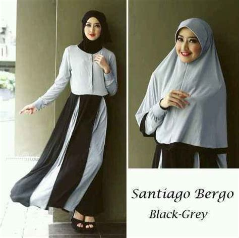 Grosir Dress Busui Baju Menyusui Gamis Hitam Orlin Maxy M Gamis Set Bergo Santiago Black Grey Y590