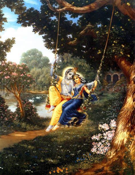 radha krishna swing radha and krishna on swing painting 2 art print on