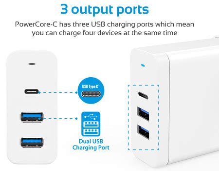 Travel Fast Charger Roker Fantastic4 4 Port 4 4a Original 1 promate type c laptop charger premium 60w 3 port usb type c power delivery wall charger with