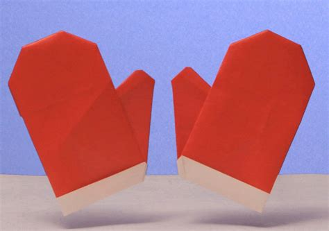 How To Make Origami Gloves - puppet box origami winter