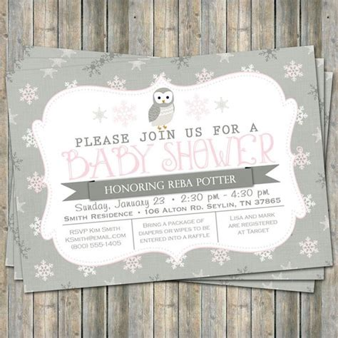 Winter Owl Baby Shower Invitations by Winter Owl Baby Shower Invitation Typography Baby Shower
