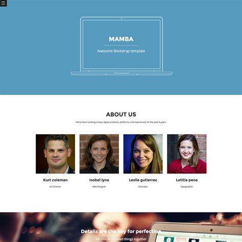 bootstrap templates for about us mamba free responsive bootstrap template