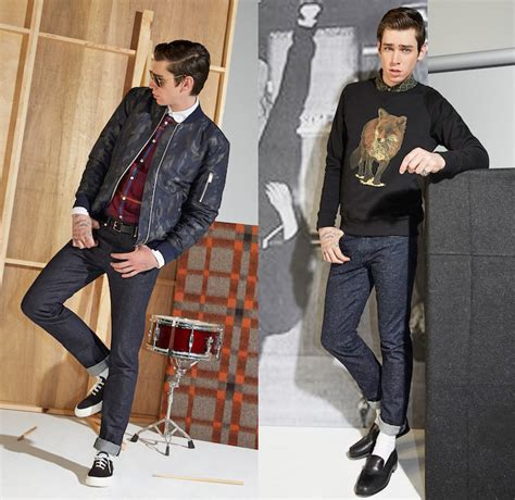 1950s fashions with rolled up jeans maison kitsun 233 2014 2015 fall winter mens denim jeans