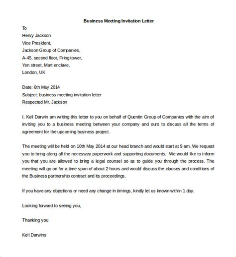 Letter For Invitation In Meeting Business Meeting Invitation Letter Template Word Format Selimtd