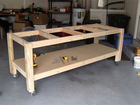 how to build a work table i like the casters on this one mobile is garage