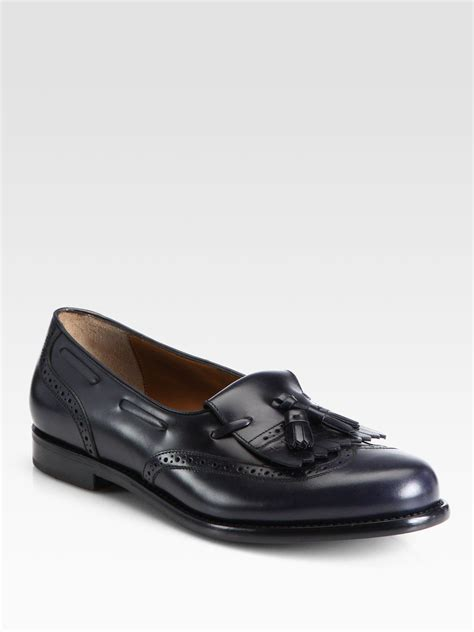 black loafers for ferragamo lucas kiltie tassel loafers in black for lyst