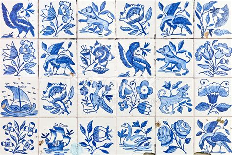 ornamental portuguese tiles azulejos stock photos