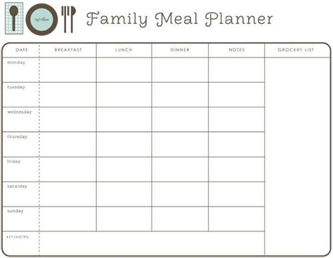 family menu planner template weekly family meal planner hellobee diy printables