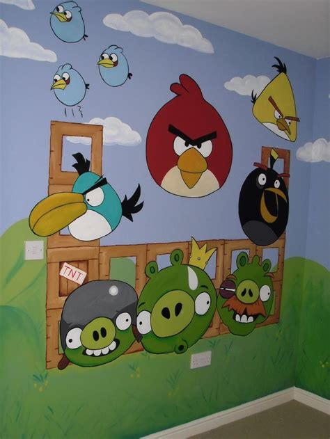 angry birds bedroom angry birds kid s room wall mural www custommurals co uk