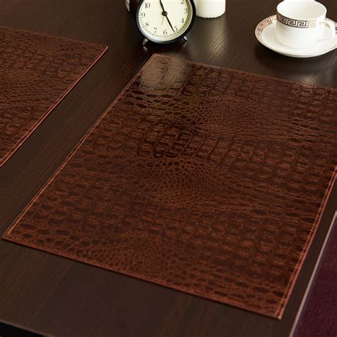Coffee Table Mats Leather Placemat European Style Crocodile Pattern Table Mat Insulation Pad Mat Decorative Coffee
