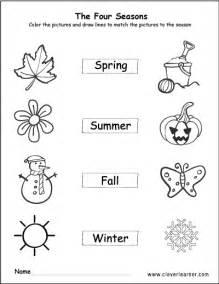 seasons worksheets preschools