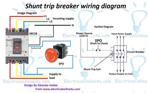 shunt trip breaker wiring diagram explanation electrical