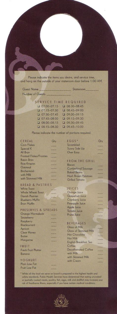 Cruise Room Service Menu Room Service Whats Like Cunard Ships Qe Room Breakfast Jpg Room Service Breakfast Menu Template