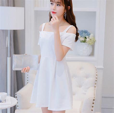 Dress Dress Korea Putih White 1 korean summer dress clothing sleeve dress fashion slash neck condole belt dress