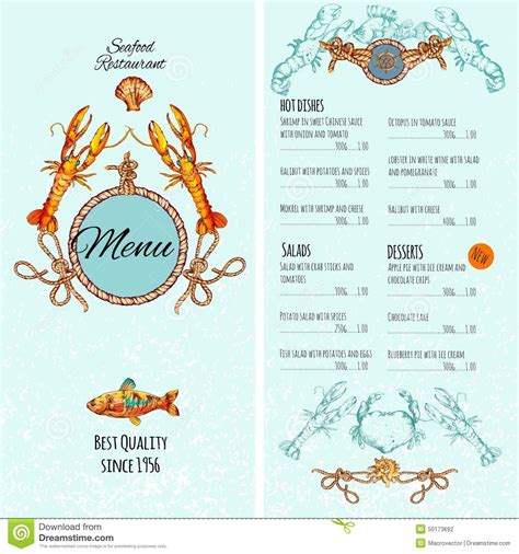 seafood menu template seafood menu template stock vector image 50173692