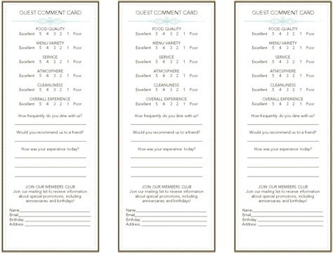 comment cards templates image restaurant guest comment card template