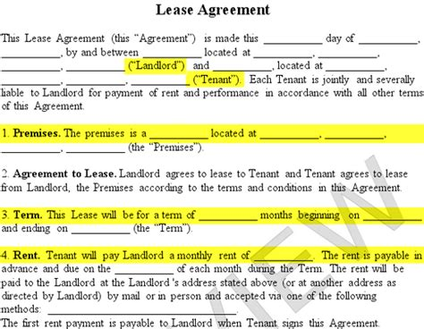 landlord rental contract template residential lease agreement form free rental agreement