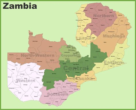 zambia map zambia districts map