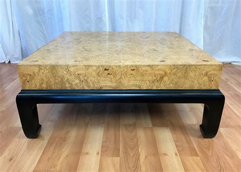 burl wood end table large burl wood coffee table with drawers attributed to