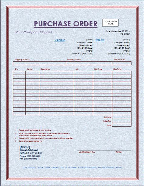 pin purchase order format in word template on pinterest
