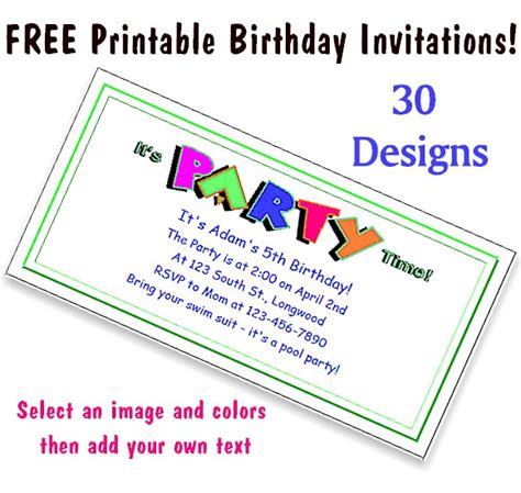printable children s party invitations free free printable party invitations for kids