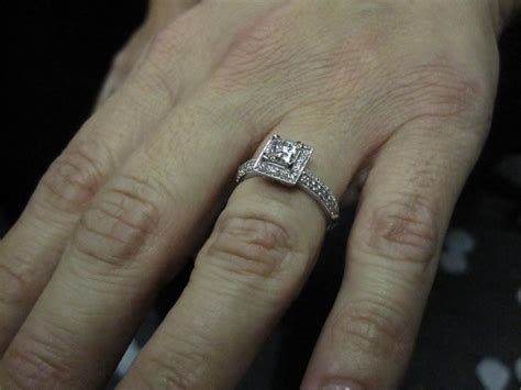 princess cut engagement rings on finger hd