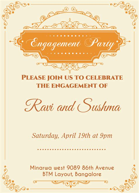 indian engagement cards template indian engagement invitation card with wordings check it