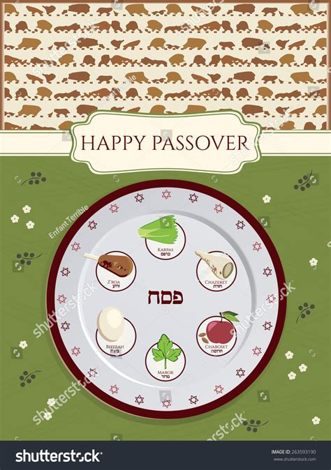 seder plate symbols template greeting card design for passover vector template