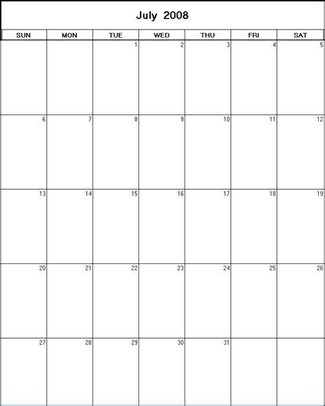 July 2008 Calendar July 2008 Printable Blank Calendar Calendarprintables Net