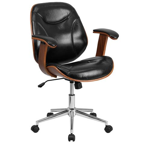 mid back executive wood swivel office chair in black
