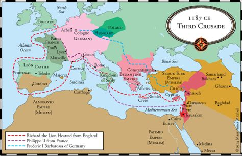 the third crusade map crossing the sea the third through fifth crusades