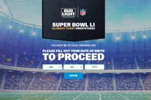 Ticketmaster Super Bowl Sweepstakes - bud light super bowl li ultimate ticket sweepstakes and iwg 607 winners i crave