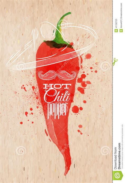 red hot chili pepper poster watercolor art red kitchen poster watercolor hot chili pepper stock vector image