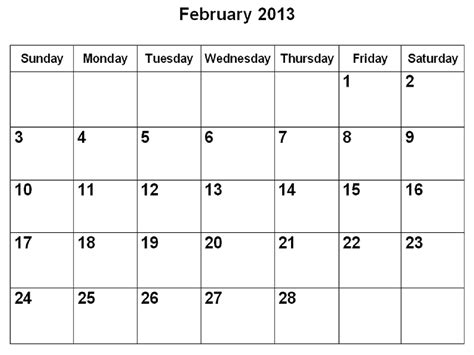 February 2013 Calendar Calendar For Jan And Feb 2013 Calendar Template 2016