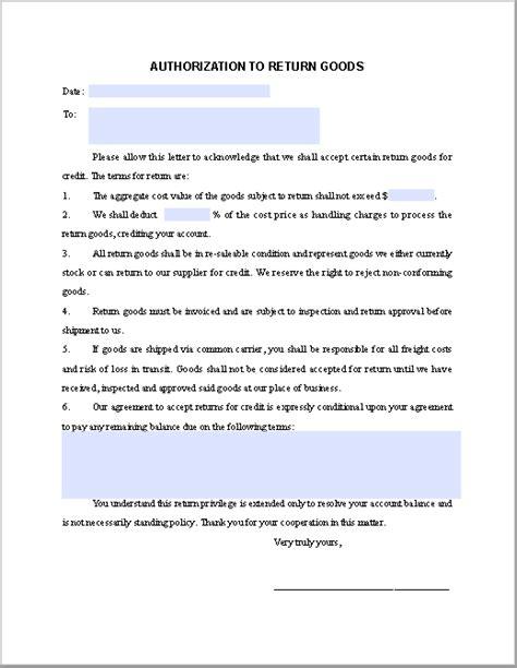 vendor authorization letter format return goods authorization form template free fillable