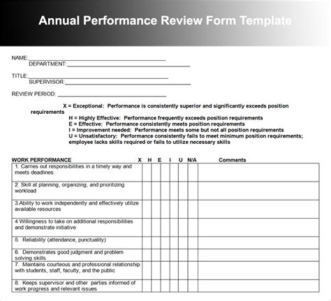 performance review template employee performance review templates free premium
