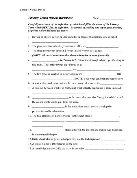 Literary Terms Worksheet by Literary Terms Review Senior 4